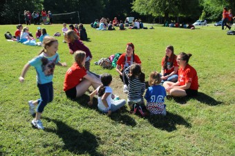 campers and counselors playing