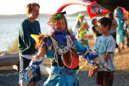 Teen leader wearing costume