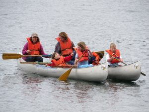 Adapted canoes at Special Family Camp