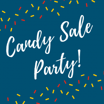Candy sale party text on blue background with yellow and red confetti