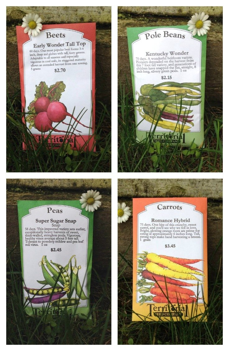 Seed packets for our spring garden planting