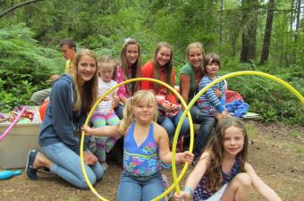group with hoops at Camp Niwana