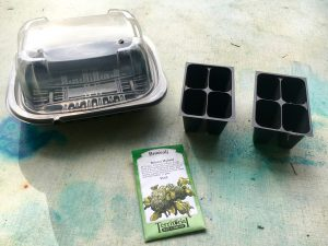 1 Materials needed - seeds, recycled chicked container, potting soil cups