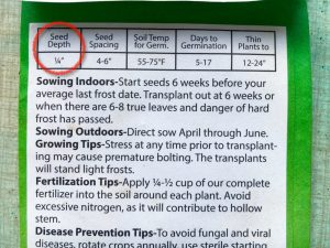 3 Use the information of the seed packet to determine planting depth