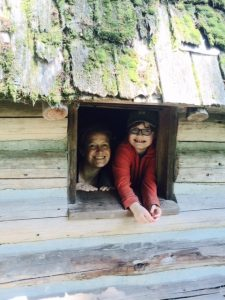 Sara and Ethan at Uncle Wigglebotton's Cabin at Camp Sealth!