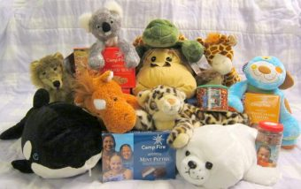 Collection of stuffed animal prizes from the Camp Fire Candy Sale!