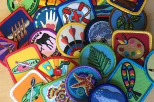Multi-color embroidered patches