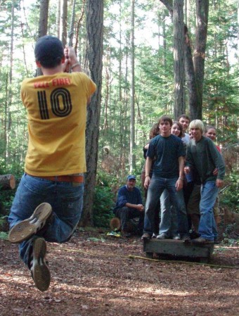 Campers on challenge course