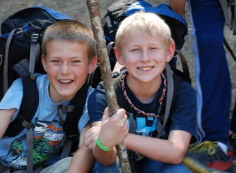 Campers smiling on camping trip