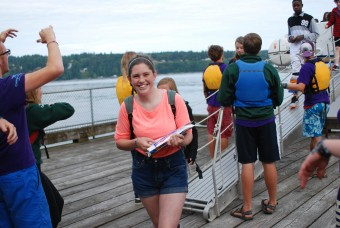 Campers arriving at camp sealth