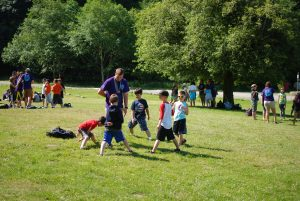 Campers playing games at Camp Sealth