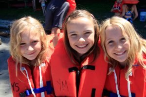 Campers wearing life jackets