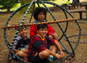 Campers playing with hula hoops at Day Camp