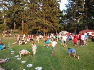 Campers playing games at Carkeek Park