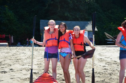 Campers in life jackets ready for boating